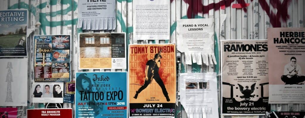 Flyers on wall in New York City