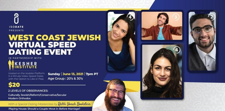 Isodate and The Kesher Institute's West Coast Jewish Virtual Speed Dating