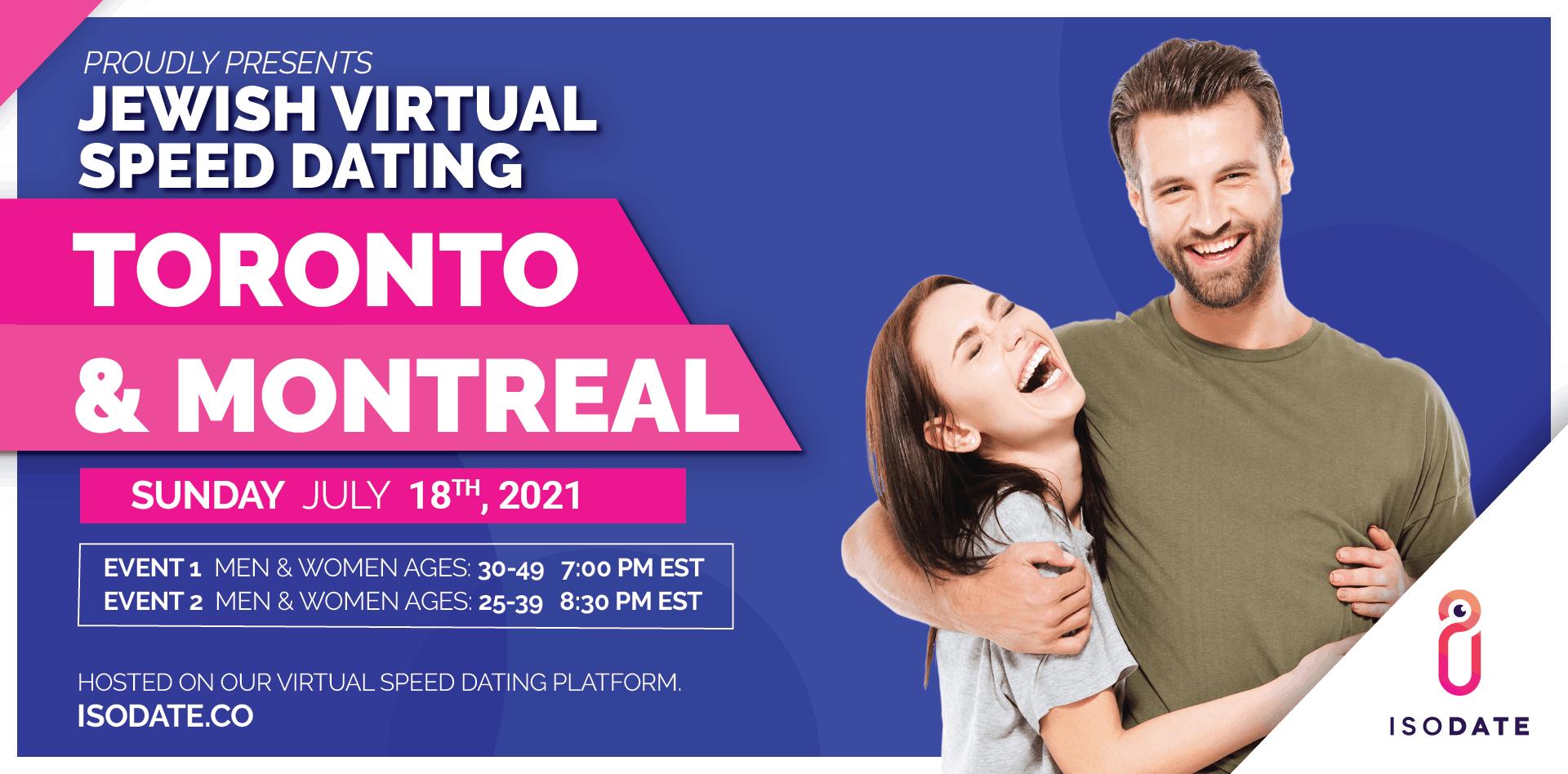 Isodate's Toronto & Montreal Jewish Virtual Speed Dating