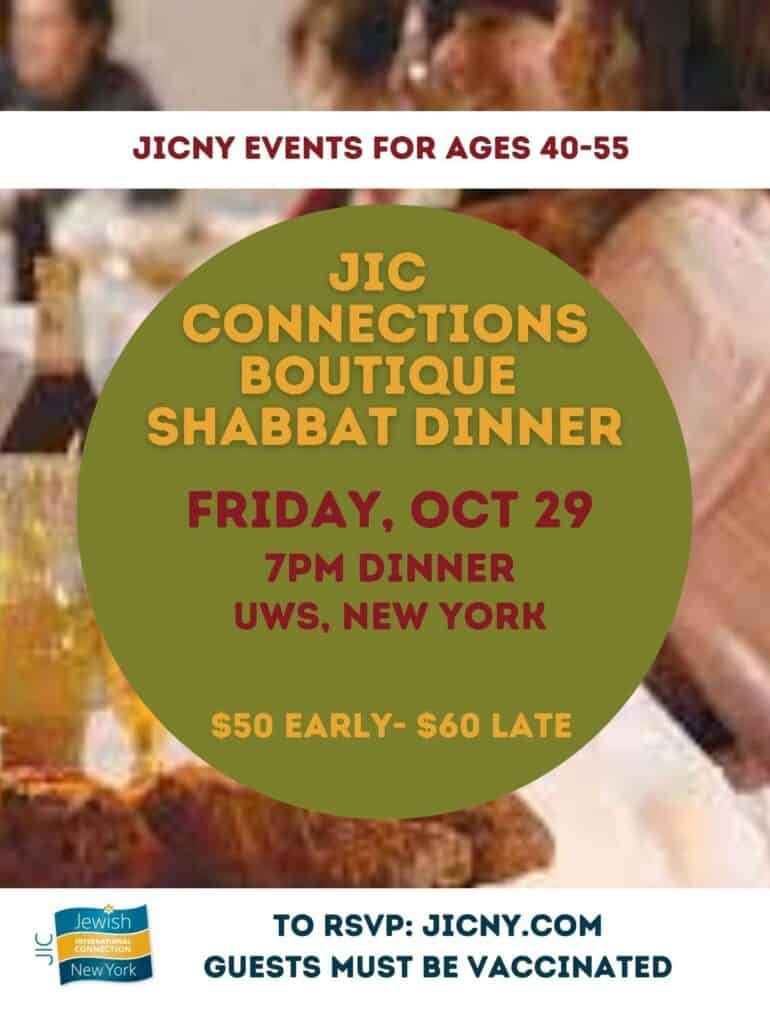 Connections Boutique Shabbat Dinner for ages 40-55